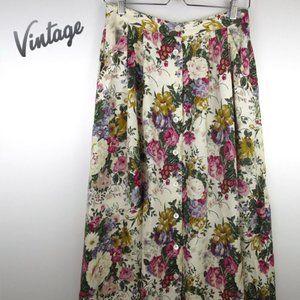 Vintage Floral Button Front Midi Skirt